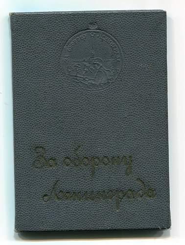 Click image for larger version.  Name:Defense of Leningrad Medal document, in special hard presentation folder, awarded to Captain Lie.jpg Views:50 Size:172.1 KB ID:301461