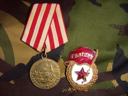 Defence of Moscow Medal and Guards Badge.Opinions?