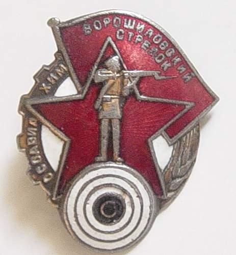 Click image for larger version.  Name:Voroshilov marksmans badge 001.jpg Views:183 Size:135.9 KB ID:34420