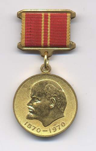 Click image for larger version.  Name:Jubilee Medal for the 100th Year Anniversary of Lenin's Birth - Military - Obverse.jpg Views:1229 Size:223.3 KB ID:43186