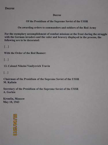 Order of the Red Banner re-issue from Major General of Artillery of the Leningrad air defence army...