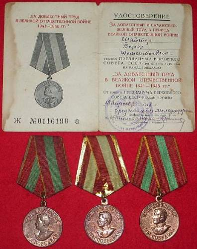 My medals for Valiant Labor in the G.P.W.