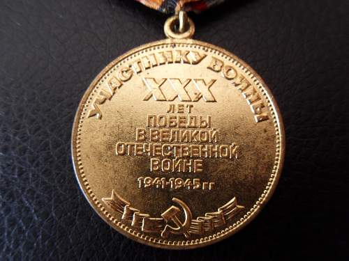 "Jubilee Medal ""Thirty Years of Victory in the Great Patriotic War 1941-1945 - Share"