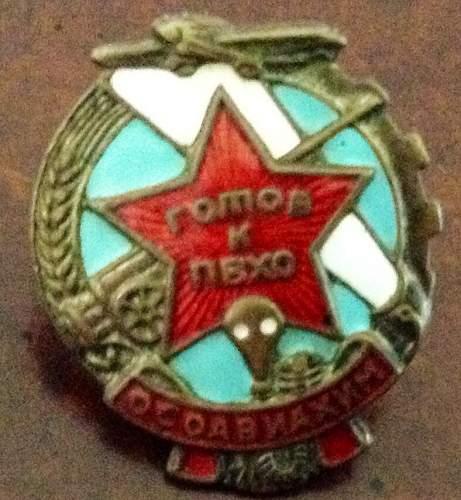 USSR OSOAVIAKHIM badge ...personal identification?