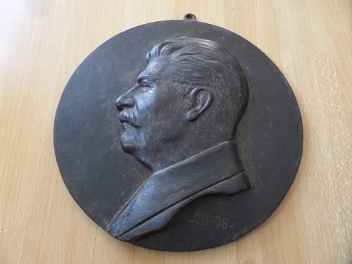 Russian 1938 dated Joseph Stalin metal wall plaque