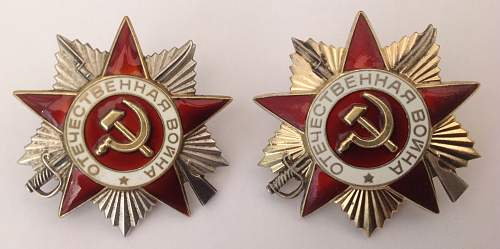 Click image for larger version.  Name:Order of the Patriotic War 1985 reissue 1st and 2nd class.jpg Views:18 Size:217.3 KB ID:821078