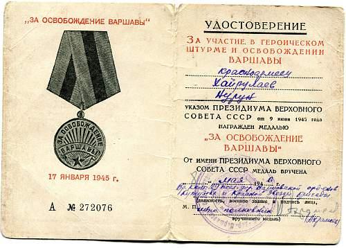 Click image for larger version.  Name:Narun (Nurun) Khairulaev, Liberation of Warsaw.jpg Views:13 Size:332.9 KB ID:882988