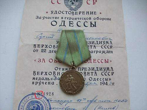 Odessa medal + docs authentic?