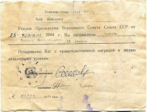 Congratulatory Certificate, Order of Bogdan Khmelnitsky, 2nd Class
