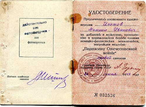 Click image for larger version.  Name:Mikhail Ivanovich Ipatov, Partisan 1st Class.jpg Views:63 Size:340.5 KB ID:908534