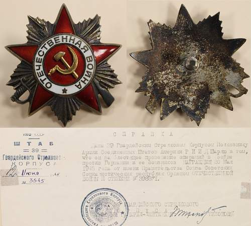 Order of the Patriotic War 2nd class: Awarded to the American CDR of the Second Mechanized Cavalry Group.
