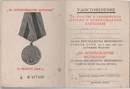 Click image for larger version.  Name:Soviet Warsaw Medal-Private Pavel Nikandrovich Kotsyuba 002.jpg Views:12 Size:177.2 KB ID:971095
