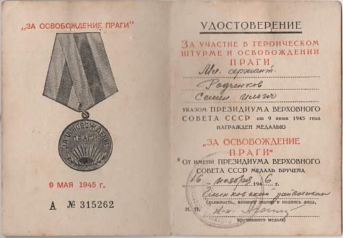 Click image for larger version.  Name:Soviet Prague Medal - Junior Sergeant Semyon Ilyich Radchenkov 002.jpg Views:13 Size:222.8 KB ID:977436