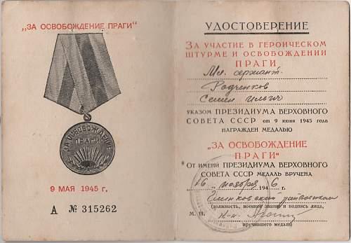 Click image for larger version.  Name:Soviet Prague Medal - Junior Sergeant Semyon Ilyich Radchenkov 002.jpg Views:5 Size:222.8 KB ID:977436