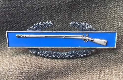 US Combat Infantryman Badge 1st Award Clutch Back Sterling WW2
