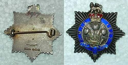 British Badge / Decoration R.M.I.G. 1927