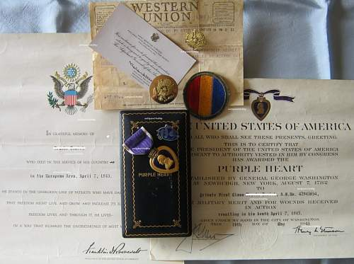 Purple Heart medal, certificate and documents - KIA 07 April 1945