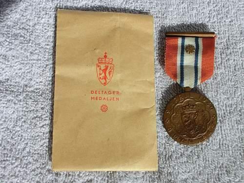 The Norwegian Defense Medal/Deltagermedaljen 1940-1945