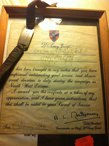 Outstanding Service Citation signed by Field Marshall Montgomery