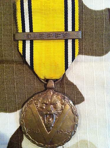 Belgium Commemorative medal with Dieppe Clasp