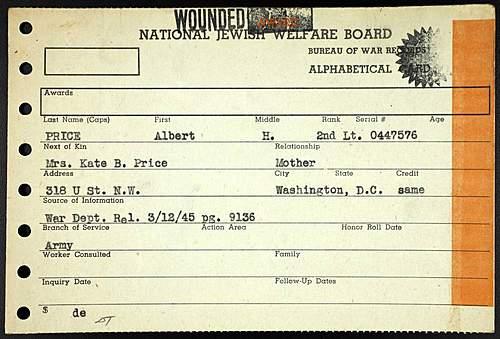 WIA Purple Heart of Albert H. Price - 366th Infantry Regiment (92nd ID)