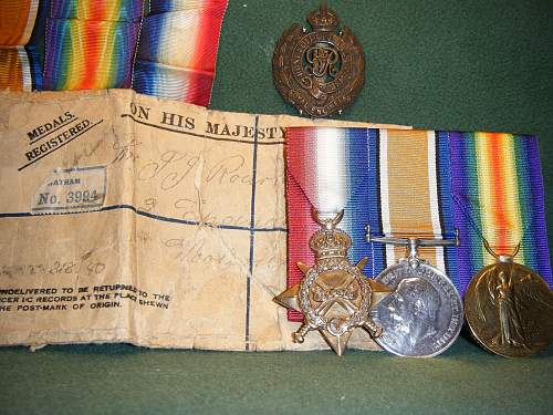Click image for larger version.  Name:WWI Campaign Medals  JJ O'Rourke.jpg Views:475 Size:250.9 KB ID:422020