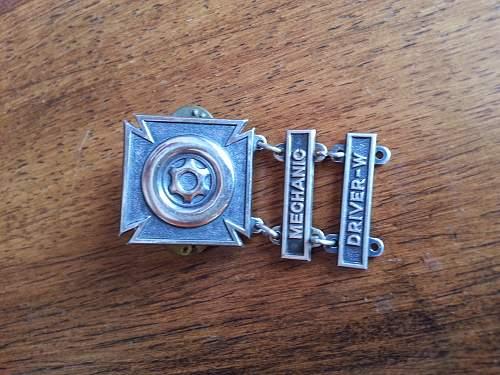 Driver/Mechanic award. ...WW2?