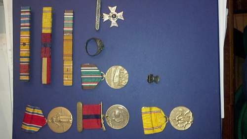 What I can find of my grand fathers medals, and ribbons.