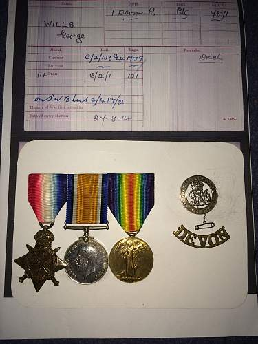 "My ""Mons"" star with bar and 1914-15 medal."