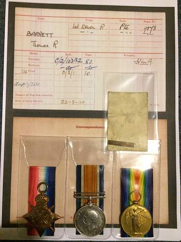 """My """"Mons"""" star with bar and 1914-15 medal."""