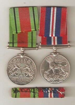 WWII Defence & War Medal with bar