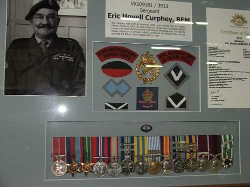 Australian Army MP SGT Curphey's medal group. (Impressive)