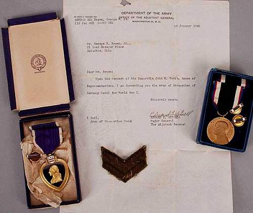 Exceedingly rare Purple Heart: WWI MSCC Purple Heart to Capt. George R. Brown