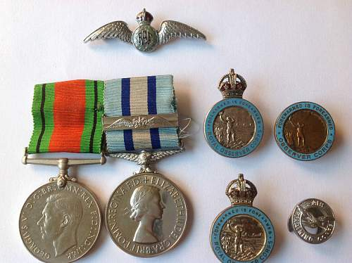 WW2 OBSERVER CORPS grouping.