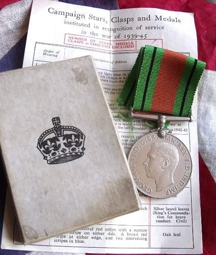 """WW2 """"Bevins Boy?"""" Defence medal"""