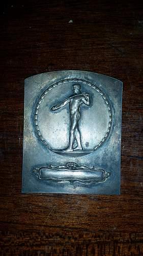 Odd weird silver-coloured plaque