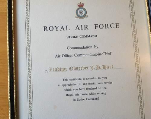 Royal Observer Corps medal and award letter.