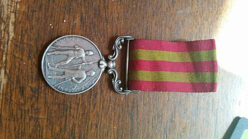 First type Indiia 1895 service medal with relirf of Chitral clasp