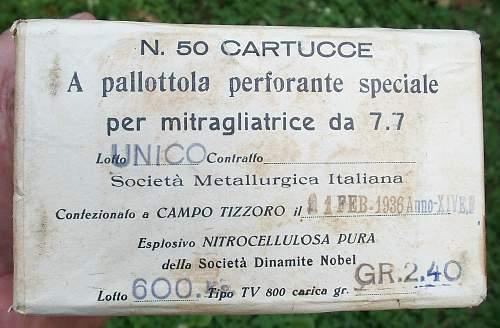box of scarce Italian 7.7x56R Incendiary rounds