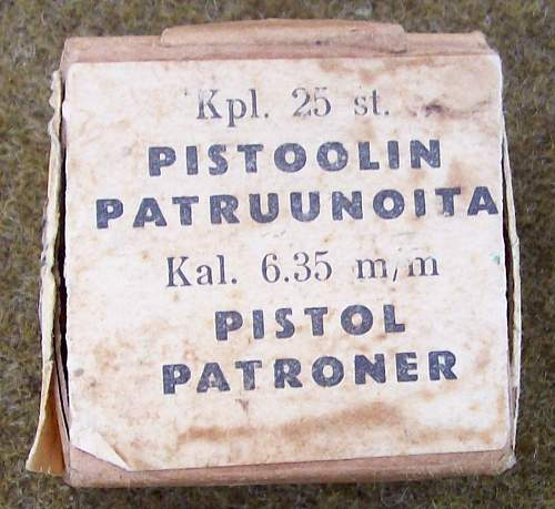 Old box of Finnish 6.35mm AMMO