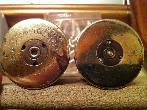 2 pre WW1 German made 37mm brass shells