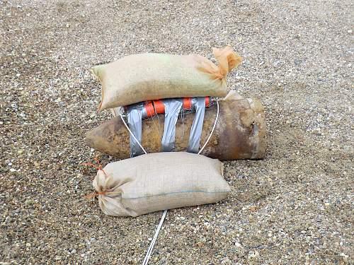 WW.2 German roll mine found at Gorey Castle in Jersey.