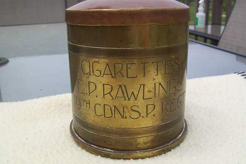 Cigarette tin trench art made by Cdn soldier out  of German shell casing