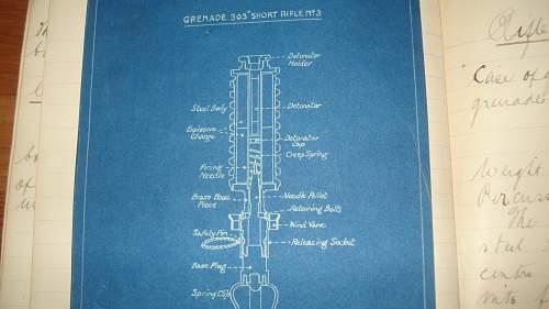 WW1 Canadian Armies O/C Grenade School hand written manual with blueprints!!!