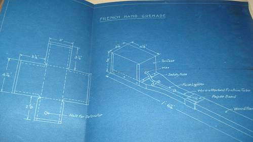 WW1 Canadian Armies O/C Grenade School hand written manual with blueprints!!!