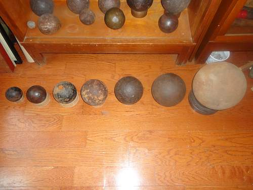 4 LBS to 100 LBS Cannonballs in a row