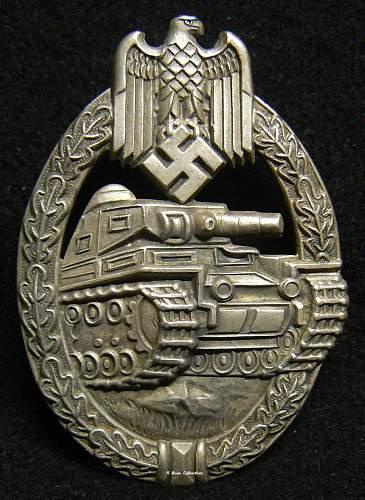 Panzerkampfabzeichen in Silber, Unknown Maker, Scooped Flatback.