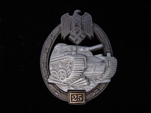 Need help on this 25 Panzerkampfabzeichen.