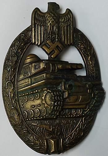 My first Panzerkampfabzeichen. Maker marked Adolf Scholze).