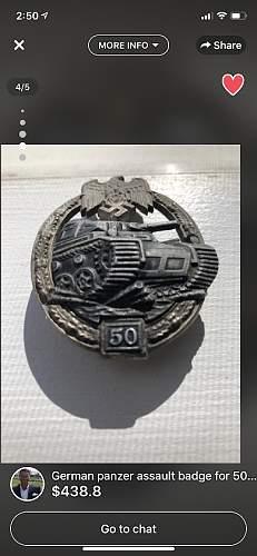 PanzerKampfabzeichen 50